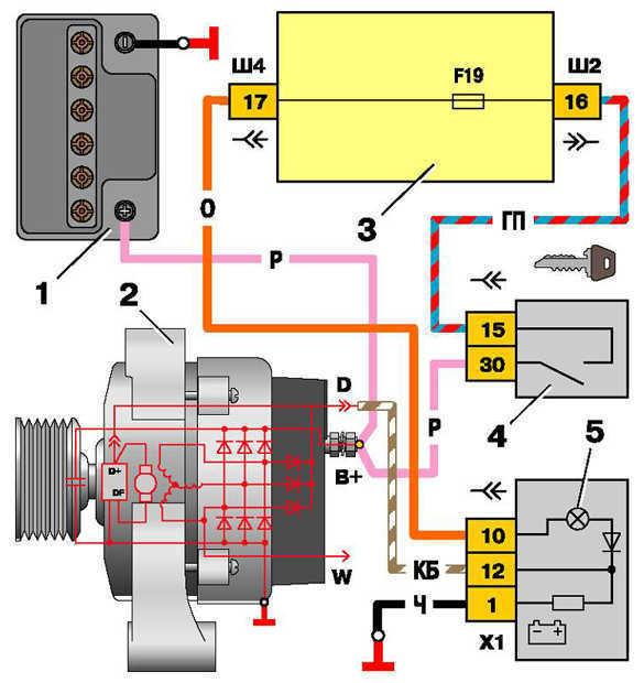 схема включения генератора 2110